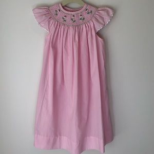 Orient Expresses smocked dress w/ angel sleeve